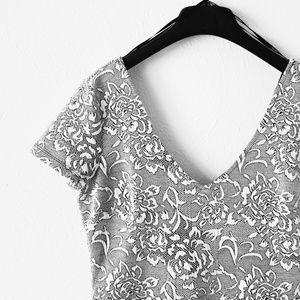 Grey Floral Skater Dress